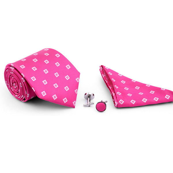 Pink And White Check Tie And Cufflink Set