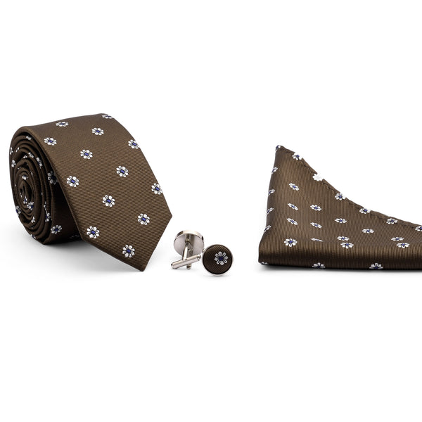 Multi Floral On Brown Tie And Cufflink Set