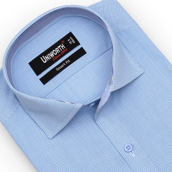 Sky Blue Check Half Sleeve Smart Fit Dress Shirt