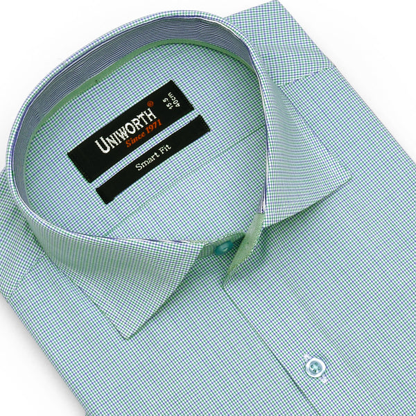Green Check Half Sleeve Smart Fit Dress Shirt