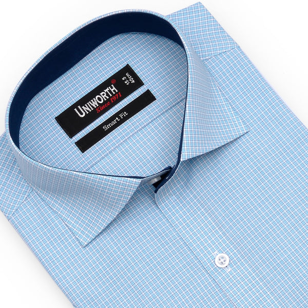 Blue And White Check Half Sleeve Smart Fit Dress Shirt