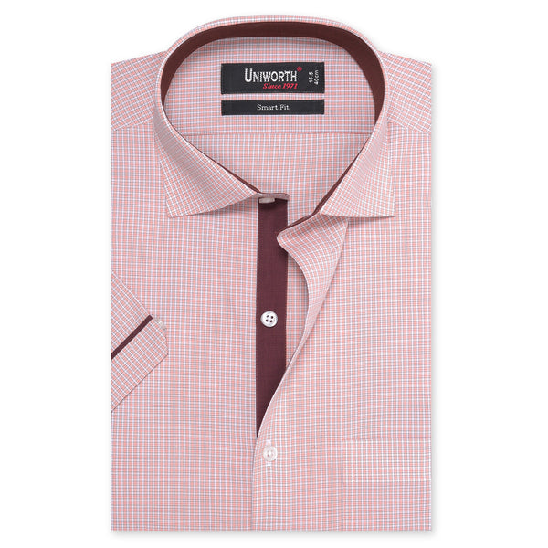 Peach And White Check Half Sleeve Smart Fit Dress Shirt