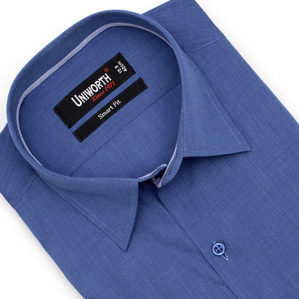 Royal Blue Plain Half Sleeve Smart Fit Dress Shirt