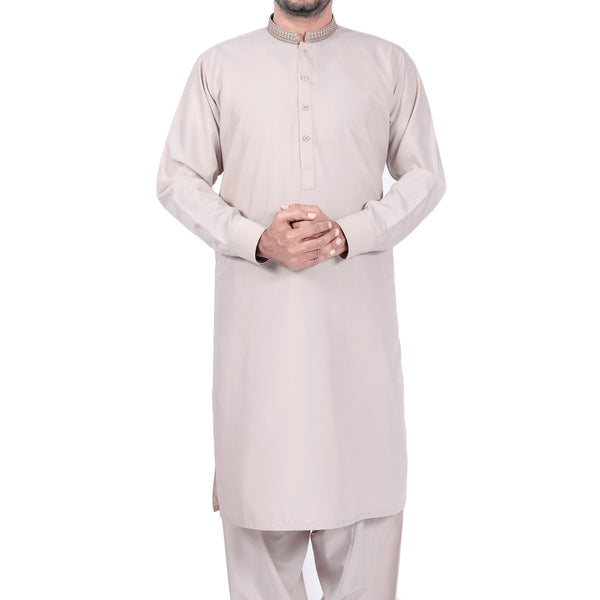 Saqafat Fashion Beige Embroidered Band Shalwar Suit