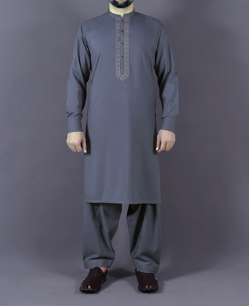Grey Plain Band Shalwar Suit