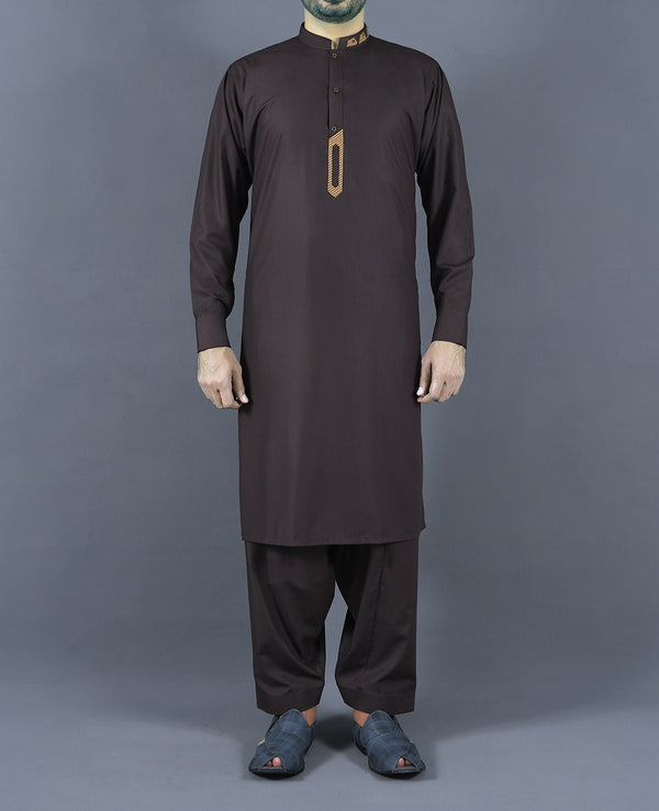 Brown Plain Embroidered Band Shalwar Suit