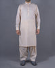 Cream Plain Band Shalwar Suit