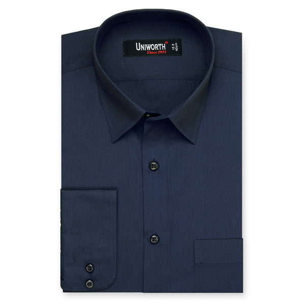 Navy Blue Plain Classic Fit Dress Shirt