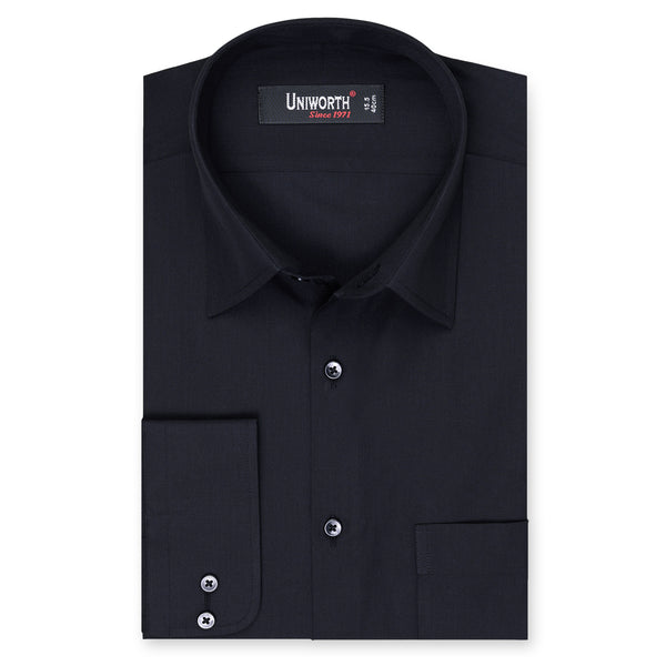Black Plain Classic Fit Dress Shirt