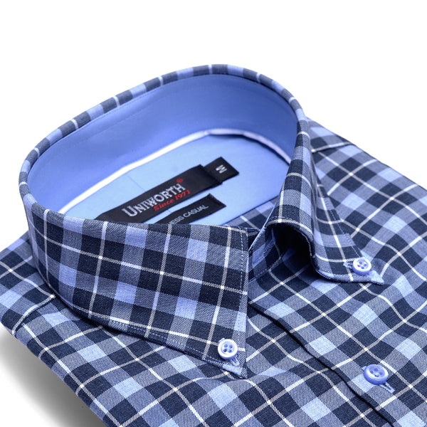 Sky Blue And Navy Blue Check Business Casual Full Sleeve Button Down Shirt