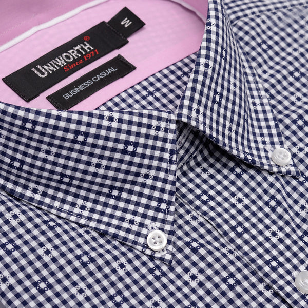 White And Navy Blue Check Business Casual Full Sleeve Button Down Shirt