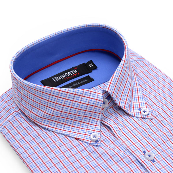 Sky Blue And Red Check Business Casual Full Sleeve Button Down Shirt SC2173