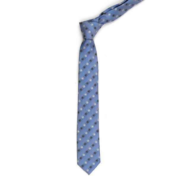 Multi Floral On Sky Blue Slim Tie