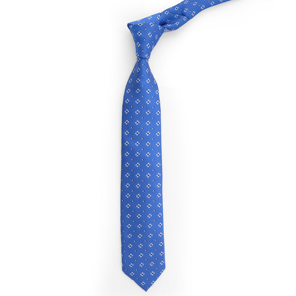 White Floral On Blue Slim Tie