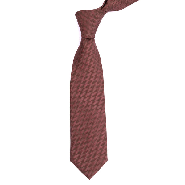 Brown Zig-Zag Diagonal Stripe Regular Tie