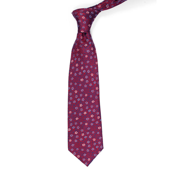 Multi Floral On Red Regular Tie