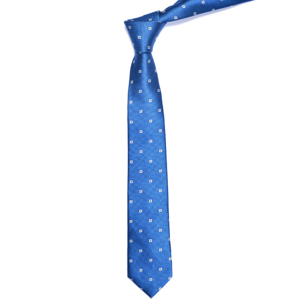 White Square On Blue Slim Tie