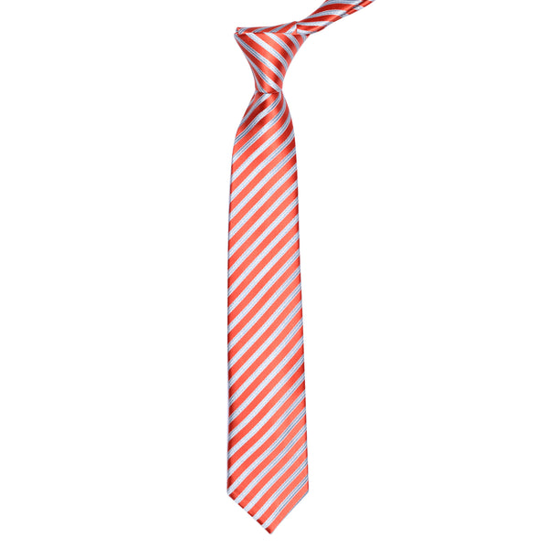 Orange And Silver Diagonal Stripe Slim Tie