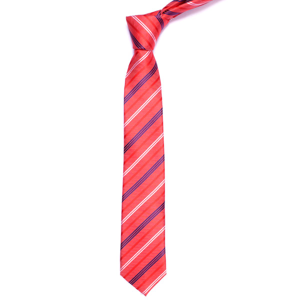 Navy Blue And Red Diagonal Stripe Slim Tie
