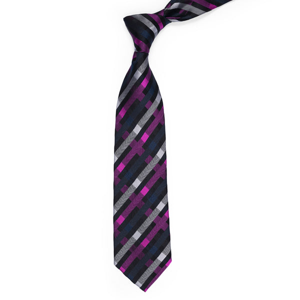 Purple And Multi Check Regular Tie