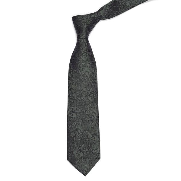 Olive Green Self Floral Regular Tie