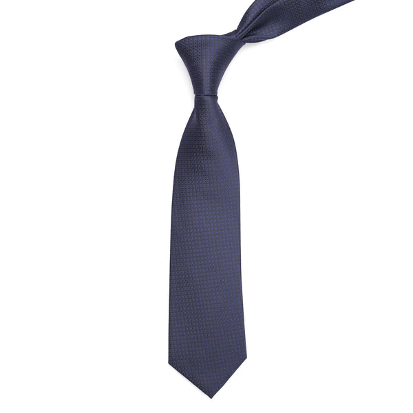 Navy Blue Self Design Regular Tie