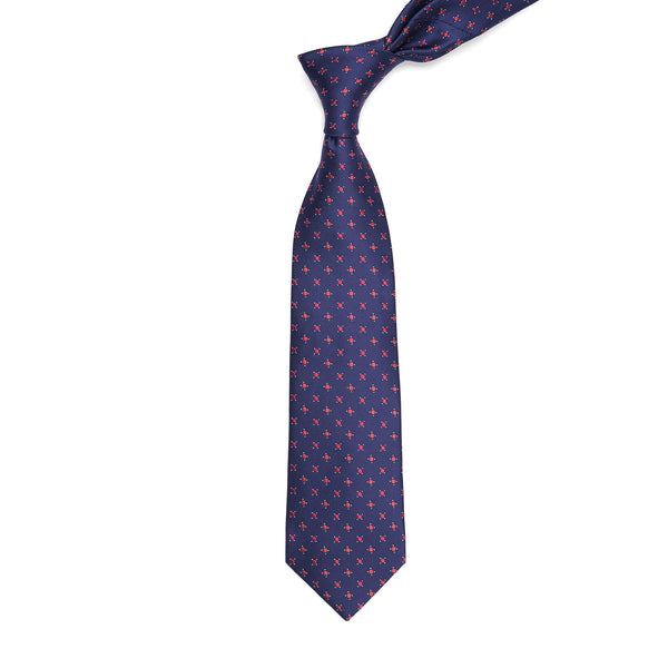 Red Dots On Navy Blue Regular Tie