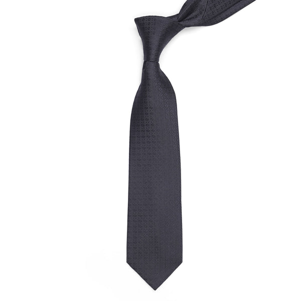 Black Self Check Regular Tie