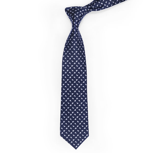 White Paisley On Navy Blue Regular Tie