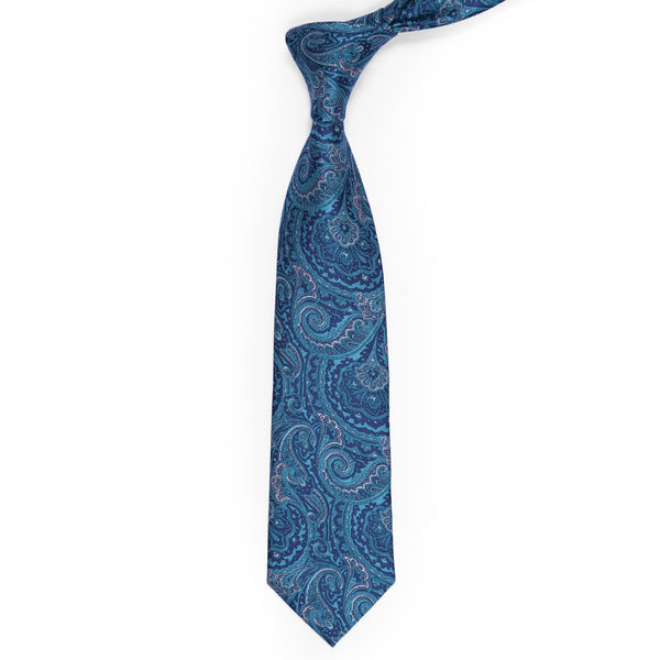 Teal Blue Paisley Regular Tie