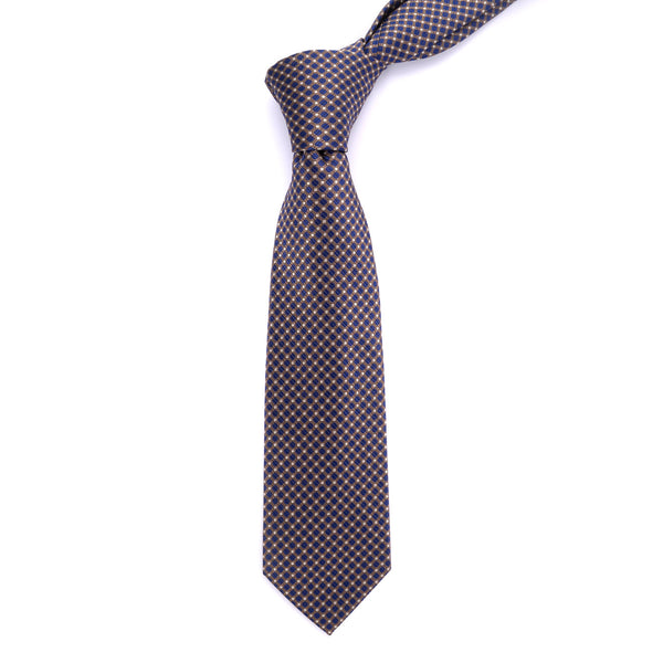Blue Geometric Regular Tie