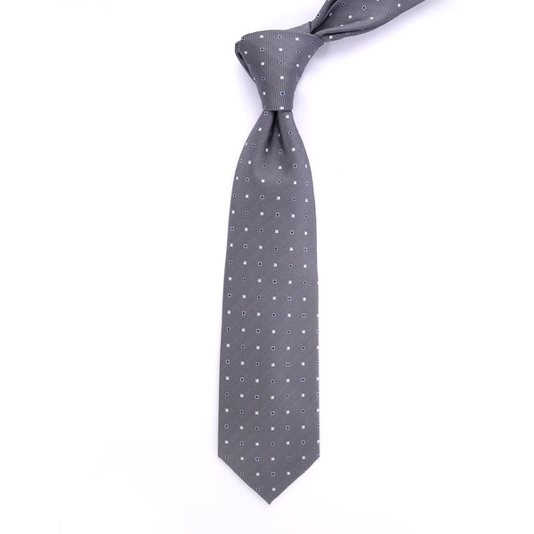 Grey Dotted Regular Tie