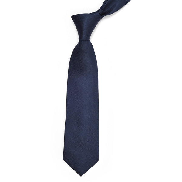 Navy Blue Self Chevron Pattern Regular Tie