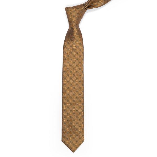 Geometric Pattern Gold Slim Tie