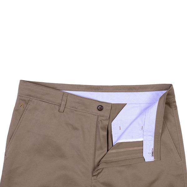 Khaki Plain Cotton Trouser