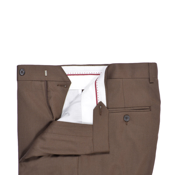 Brown Plain Classic Fit Formal Trouser