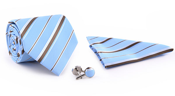 Multi Stripe On Sky Blue Tie And Cufflink Set