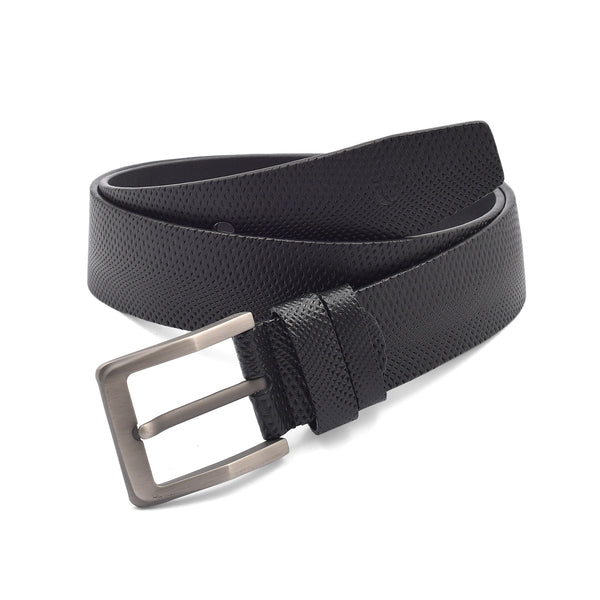 Black Embossed Pin Buckle Casual Belt
