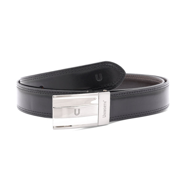 Black And Brown Leather 2 Sided Belt, Fancy Buckle