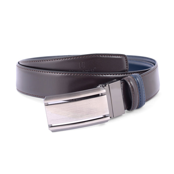 Brown And Blue Fancy Buckle Leather Formal Belt