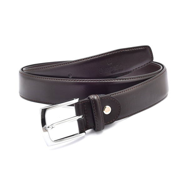 Pin Buckle Brown Leather Belt