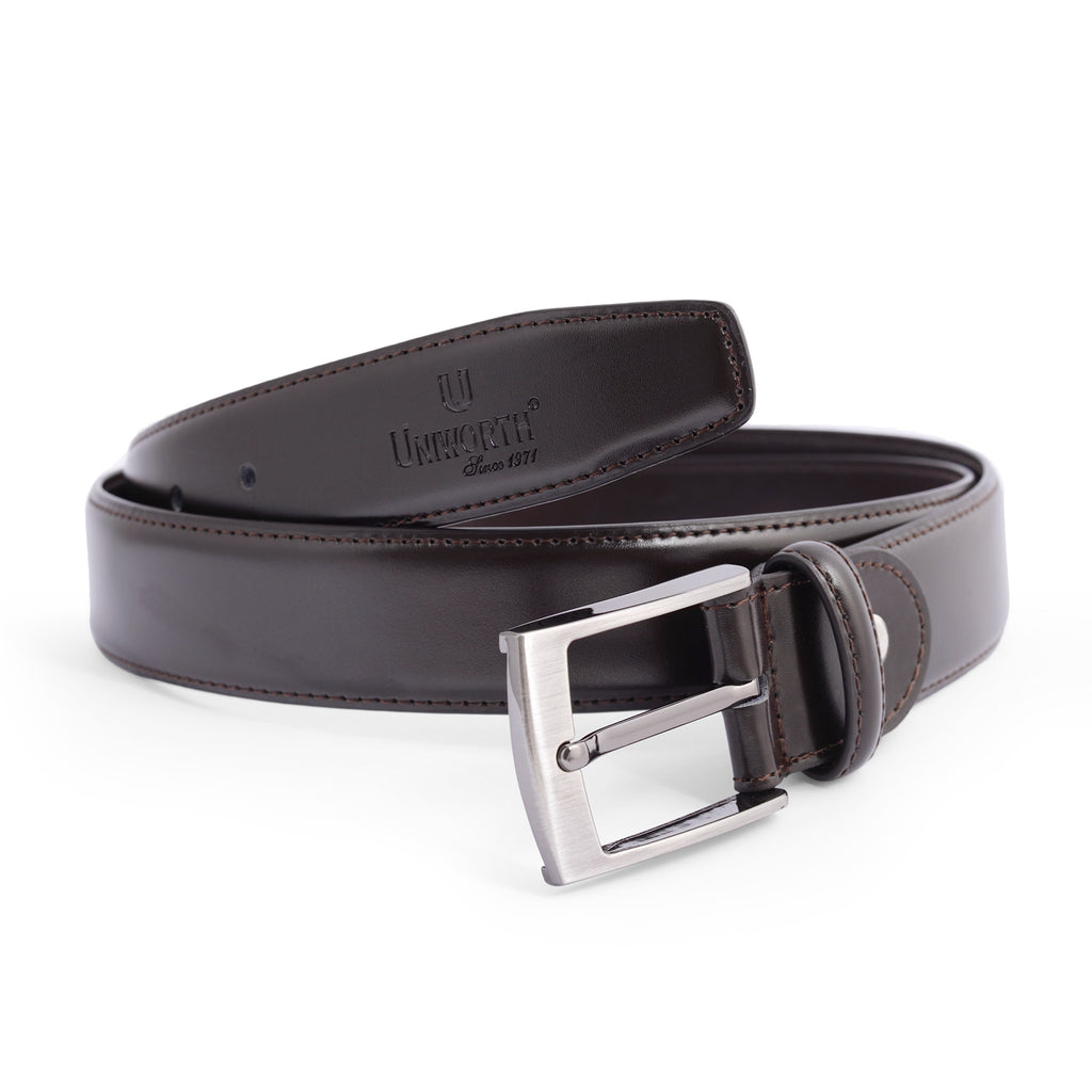 Dark Brown Pin Buckle Leather Belt
