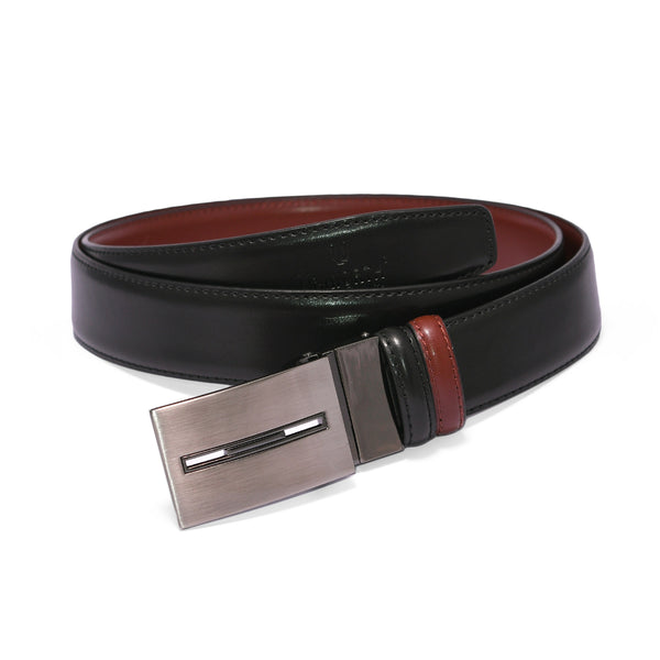 Black And Tan Brown 2 Side Fancy Buckle Leather Formal Belt