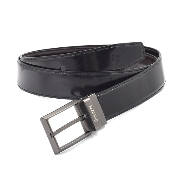 Glossy Black And Brown 2 Sided Pin Buckle Leather Belt