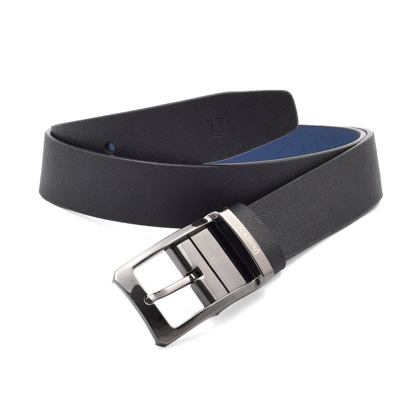 Pin Dotted Black And Blue 2 Sided Pin Buckle Leather Belt