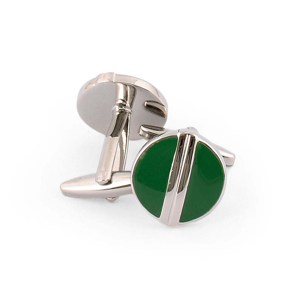 Green Stud Round Shape Sterling Silver Cufflinks