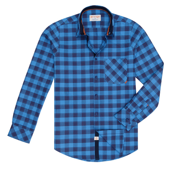 Navy Blue And Blue Broad Check Casual Full Sleeve Shirt-S