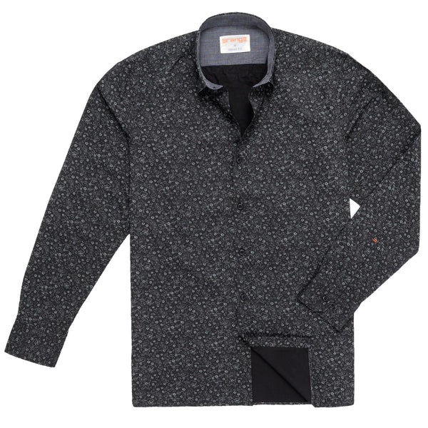Grey Floral On Black Casual Full Sleeve Shirt-M