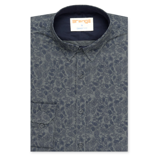 Navy Blue Paisley Design On Grey Casual Full Sleeve Shirt