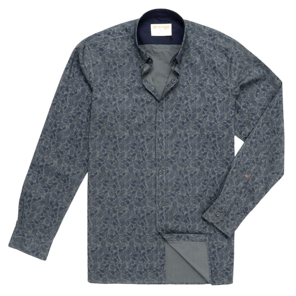 Navy Blue Paisley Design On Grey Casual Full Sleeve Shirt-M